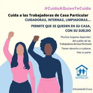 Campaña #CuarentenaNacionalYa trabajadoras de Casa Particular